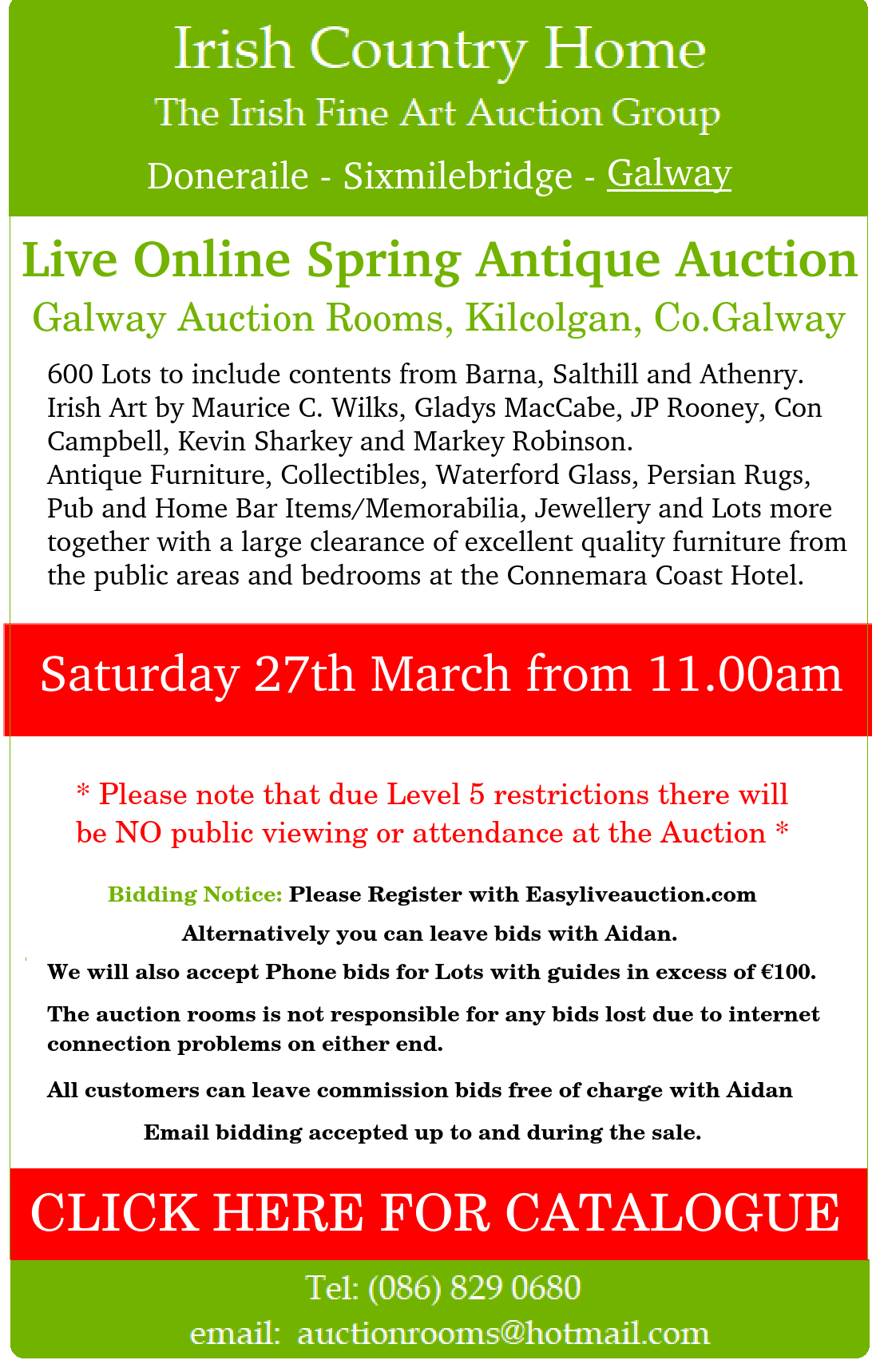 GALWAY 27th MARCH 2021 ONLINE SALE